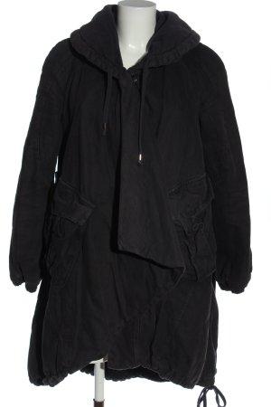 European Culture Waxed Jacket black casual look