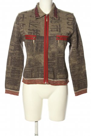 Eva & Claudi Shirtjacke khaki-rot abstraktes Muster Casual-Look
