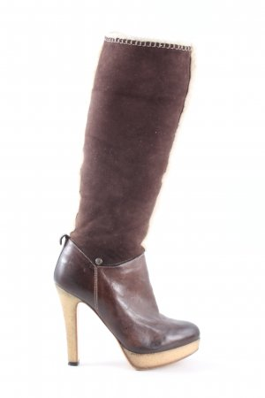 Eva Turner High Heel Boots brown elegant