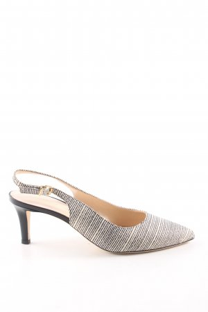 Evaluna Slingback Pumps black-natural white striped pattern business style