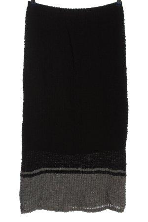 Evelin Brandt Berlin Falda larga negro-gris claro estampado a rayas look casual
