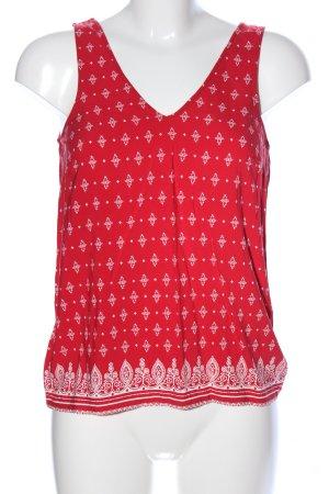 Even & Odd ärmellose Bluse rot-weiß Allover-Druck Casual-Look