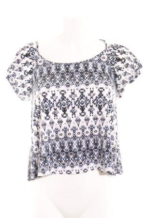 Even & Odd Carmenshirt dunkelblau-weiß abstraktes Muster Casual-Look