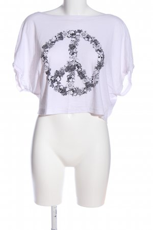 Even & Odd Cropped Shirt weiß-schwarz Motivdruck Casual-Look