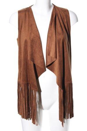 Even & Odd Chaleco con flecos marrón look Street-Style