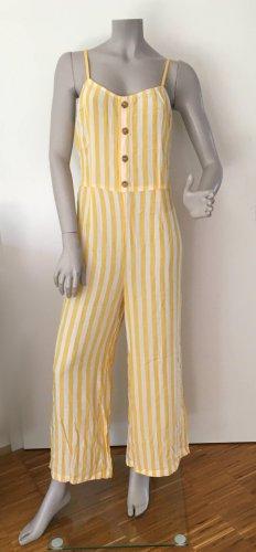 Even & Odd Jumpsuit Overall Viskose gelb weiß Gr. 42 / XL NEU / UNGETRAGEN MIT ETIKETT
