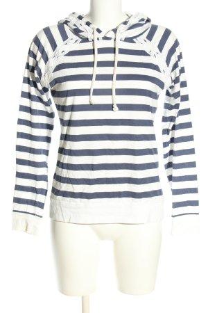 Even & Odd Top à capuche bleu-blanc motif rayé style décontracté