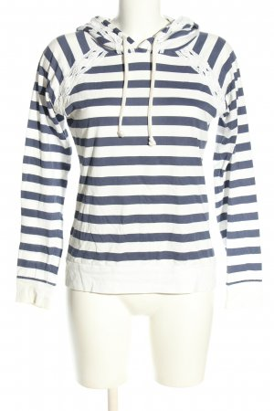 Even & Odd Top à capuche blanc-bleu coton
