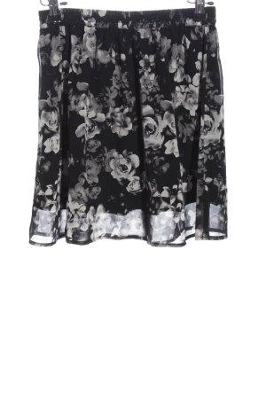 Even & Odd Minirock schwarz-weiß Blumenmuster Casual-Look