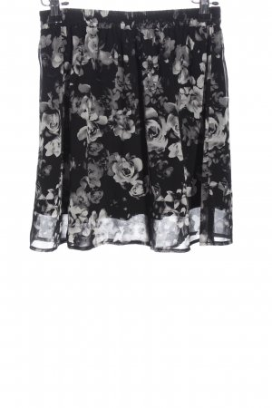 Even & Odd Mini rok zwart-wit bloemenprint casual uitstraling