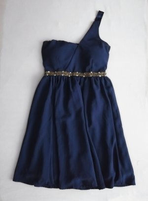 Even & Odd One Shoulder Dress gold-colored-dark blue