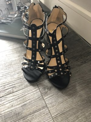 Even & Odd Strapped High-Heeled Sandals black-silver-colored