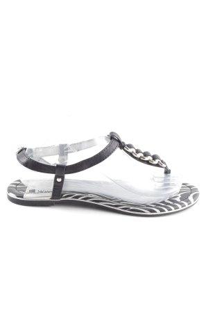 Even & Odd Sandalo con cinturino nero-argento motivo animale stile casual
