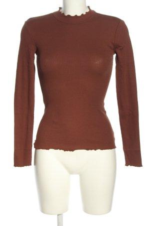 Even & Odd Prążkowana koszulka brązowy W stylu casual