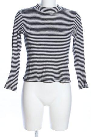 Even & Odd Rundhalspullover weiß-schwarz Streifenmuster Casual-Look