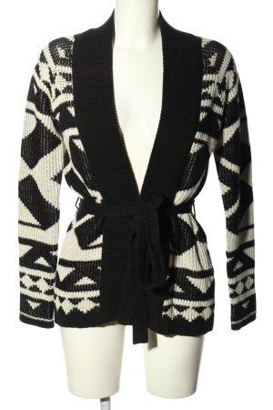 Even & Odd Cache-cœur en tricot blanc-noir motif graphique style décontracté