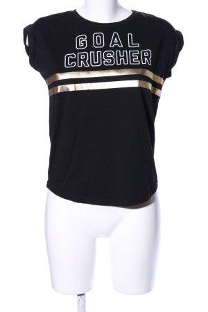 Even & Odd T-Shirt schwarz-goldfarben Schriftzug gedruckt Casual-Look