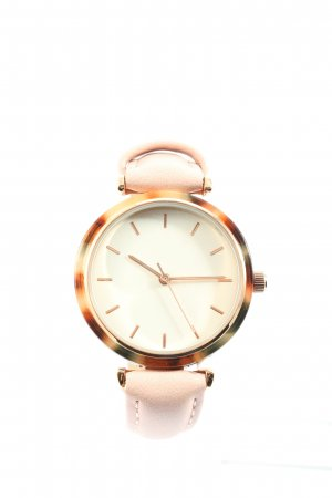 Even & Odd Reloj con pulsera de cuero color oro-crema estilo «business»