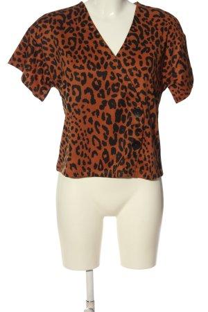 Even & Odd V-Neck Shirt light orange-black allover print casual look