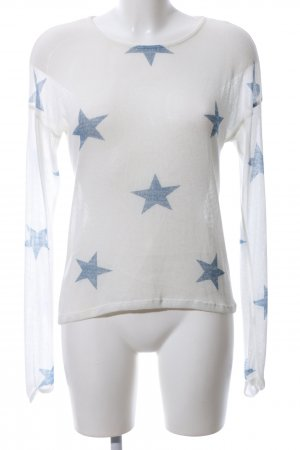 Event Strickshirt weiß-blau Motivdruck Casual-Look