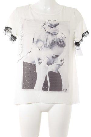 Everis Kurzarm-Bluse weiß-schwarz platzierter Druck Casual-Look