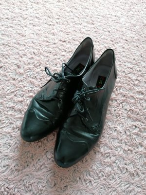 Everybody Lack Leder Schnur Schuhe 38 schwarz