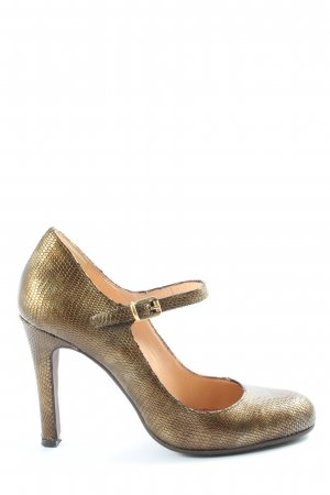 Evita High Heels goldfarben Animalmuster Glanz-Optik