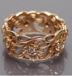 Stuart Devlin Złoty pierścionek w kolorze różowego złota