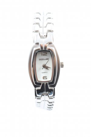 Excellanc Reloj con pulsera metálica color plata-blanco look casual