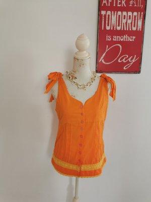 Excellium Corsage Top orange-light orange cotton