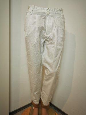 Pantalón de pinza alto blanco-marrón arena Algodón