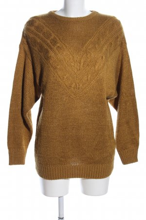 Exclusive Grobstrickpullover braun Zopfmuster Casual-Look