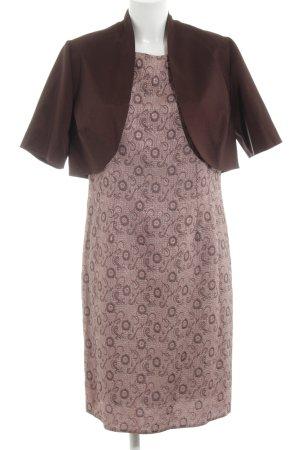 Exclusive Trägerkleid braun-pink Allover-Druck Elegant