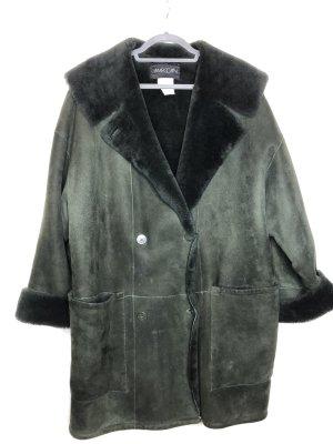 MARCCAIN Futrzany płaszcz ciemnozielony-khaki Skóra