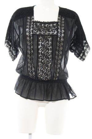 Exetera Transparenz-Bluse schwarz Casual-Look