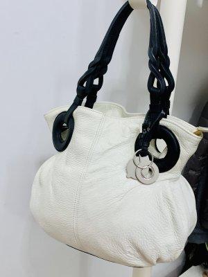 0039 Italy Sac hobo blanc cassé-noir cuir