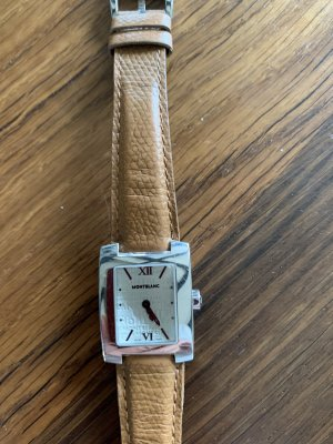Montblanc Montre avec bracelet en cuir argenté-marron clair