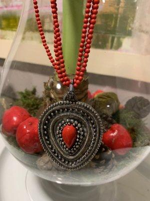 Pierre Lang Collana di perle rosso-argento