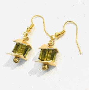 Exklusive Würfel Ohrringe mit Swarovski Crystals und gebogen Kupferscheiben