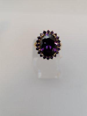Srebrny pierścionek złoto-fiolet