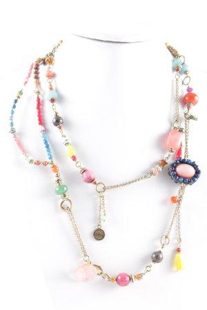 Exoal Collier incrusté de pierres multicolore style mouillé