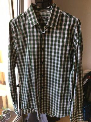 Express Herrenhemd grün weiß kariert fitted
