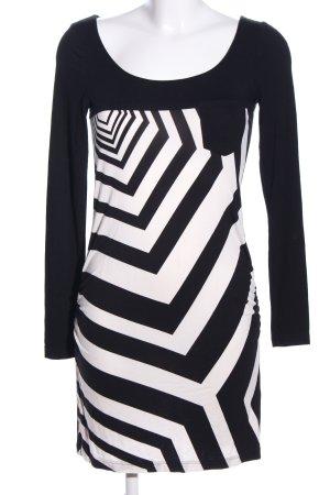 Express Jerseykleid weiß-schwarz grafisches Muster Casual-Look