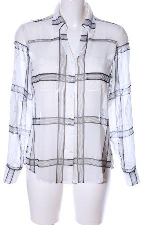 Express Transparenz-Bluse weiß-schwarz Karomuster Casual-Look