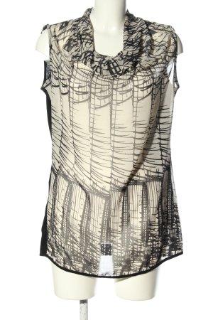 Expresso ärmellose Bluse schwarz-wollweiß abstraktes Muster Casual-Look