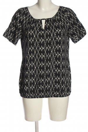 Expresso Kurzarm-Bluse schwarz-wollweiß abstraktes Muster Casual-Look