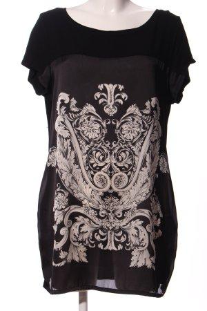 Expresso Tunikabluse schwarz-wollweiß Motivdruck Casual-Look