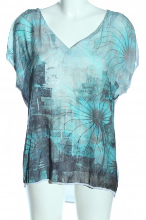 Expresso V-Neck Shirt turquoise-light grey themed print casual look