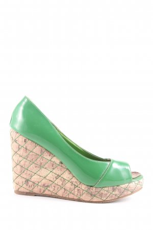Exquily Wedge Sandals green-cream casual look