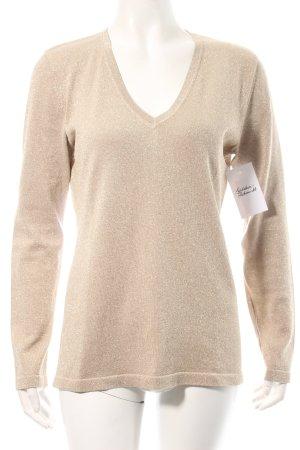 Exquisit by S.v.B. V-Ausschnitt-Pullover beige Glitzer-Optik